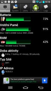 Informace z aplikace Android System Info