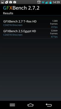 Výsledky v benchmarku GFXBench