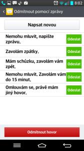 Hovor lze odmítnout s odesláním SMS