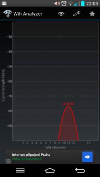 Měření síly signálu telefonem LG G2
