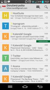 Gmail: seznam zpráv
