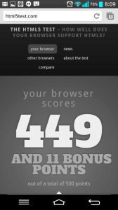 Chrome v HTML5 testu