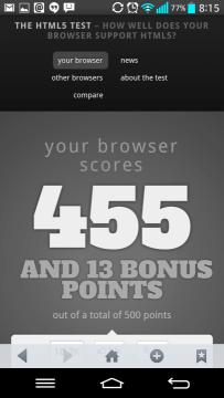 Internetový prohlížeč v HTML5 testu