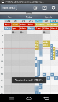Kalendář - týdenní pohled
