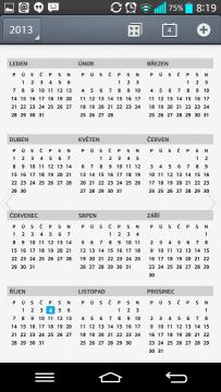 Kalendář - roční pohled