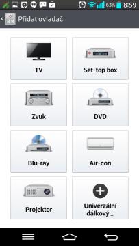 QuickRemote: výběr zařízení
