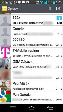 Zprávy: seznam SMS