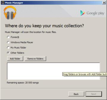Výběr vlastních složek s hudbou