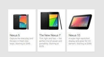 Nexus 5 vedle Nexusu 7 a 10