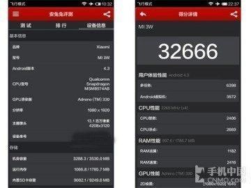 Výsledky Xiaomi Mi3 v AnTuTu Benchmark