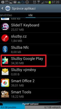 Najděte a otevřete položku Služby Google Play
