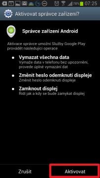 Potvrďte, že chcete Správce zařízení Android Aktivovat