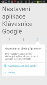 Úvodní nastavení Klávesnice Google