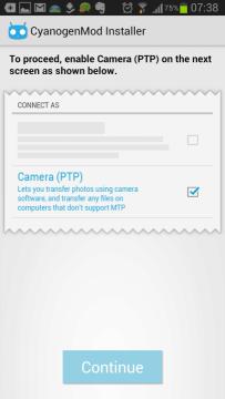 CyanogenMod Installer - zapnutí režimu PTP