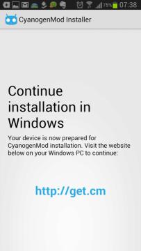 CyanogenMod Installer - pokračování na PC