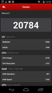 Nexus 5: výsledky v benchmarku Antutu Benchmark