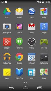 Seznam všech aplikací v Nexusu 5