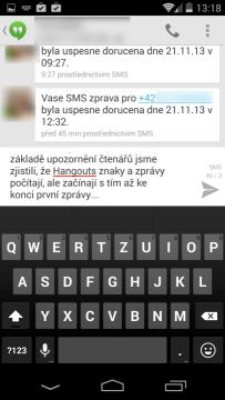 Aplikace Hangouts počítá zbývající znaky a zprávy, ale začíná s tím až ke konci první zprávy