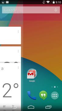 Tahem zleva doprava se dostanete do Google Now