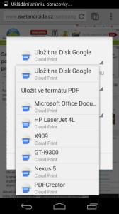 Volba tiskárny v Google Cloud Print