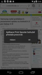 Aplikace Print Spooler bohužel přestala pracovat