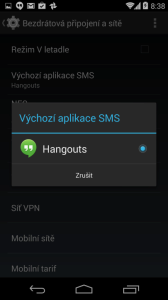Volba výchozí aplikace SMS