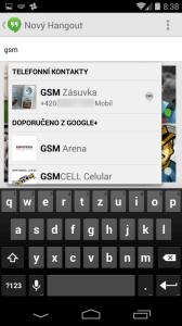 Hledání kontaktu pro zaslání SMS