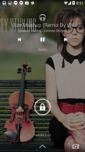 Odemykací obrazovka během přehrávání hudby