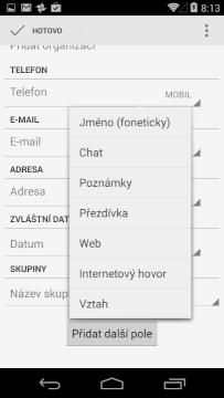 Přidávání nového kontaktu - další položky