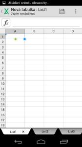 Kancelářský balík QuickOffice - tabulka