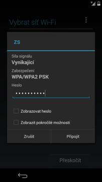 Úvodní konfigurace - připojení k Wi-Fi