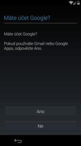 Úvodní konfigurace - přihlášení k účtu Google