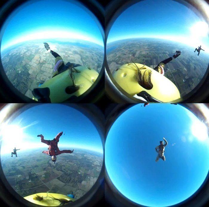 Bulbcam - záběr všech kamer před složením do panoramatického snímku
