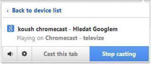 Chromecast - rozšíření Chrome