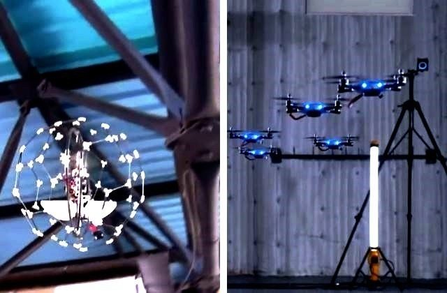 helikoptéra v kleci a kvadrokoptéry