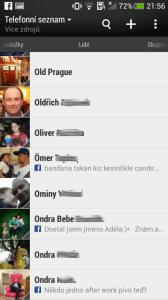 HTC One mini - kontakty seznam