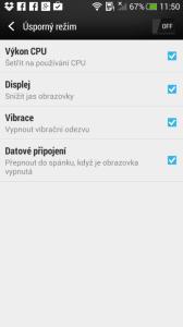 HTC One mini - úsporný režim