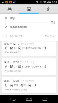 Mapy: spojení z města do města