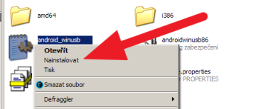 Přes kontextovou nabídku pod pravým tlačítkem myši nainstalujte ovladač