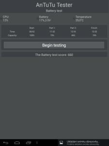 Výsledky testu baterie v aplikaci AnTuTu Tester
