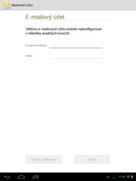 Poštovní klient E-mail - nastavení účtu