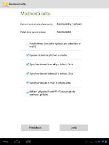 Poštovní klient E-mail - nastavení synchronizace