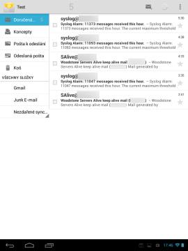 Poštovní klient E-mail - seznam doručené pošty