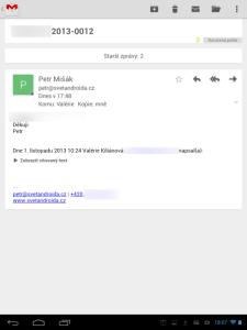 Gmail: otevřená zpráva