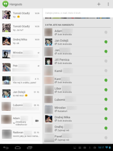 Hangouts: seznam kontaktů