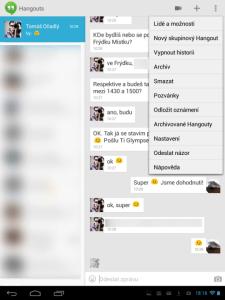 Hangouts: textový chat