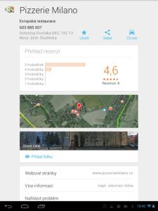 Mapy: hodnocení místa