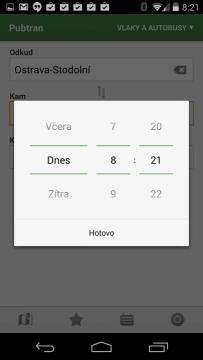 aplikace Pubtran: nastavení data cesty