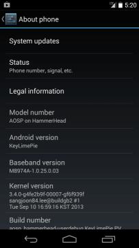 Nexus 5 s Androidem Key Lime Pie