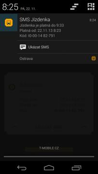SMS Jízdenka: informace v notifikační liště